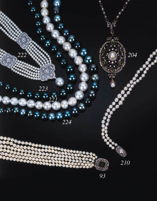 A cultured pearl necklace,