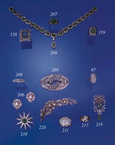 An emerald, diamond and sapphi