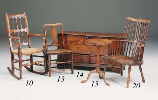 Three ash and elm solid seat c