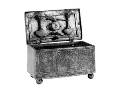 An etched steel casket, probab