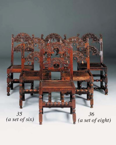 A matched set of six oak chair