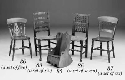 A set of seven ash, oak and al