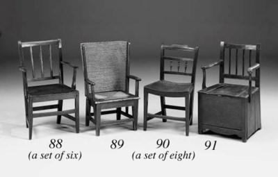 A set of six oak solid seat ch