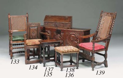 A walnut caned armchair, Engli