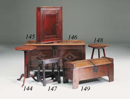 An oak cricket table, English,