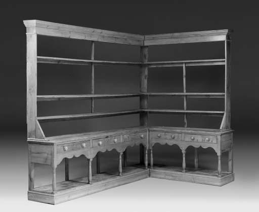 A large pine corner dresser, M