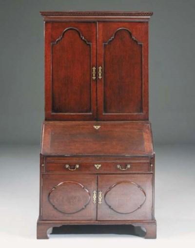 An oak bureau bookcase, Englis