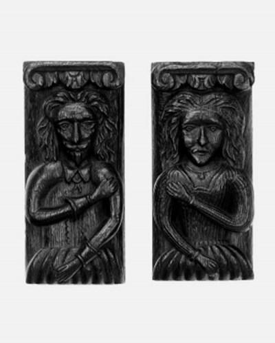 A pair of oak stiles, 17th cen
