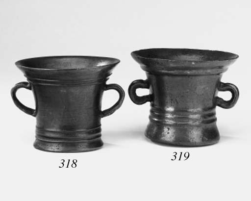 An English lead/bronze mortar,