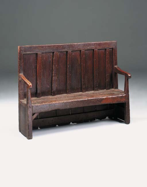 A painted pine settle, probabl