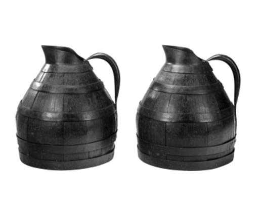 A pair of iron bound oak jugs,