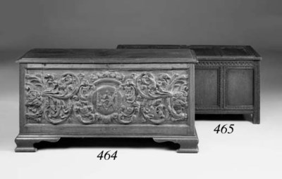 A pine and oak chest, part lat