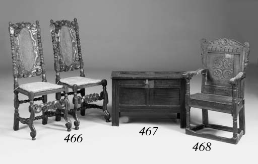 An oak panel back armchair, We