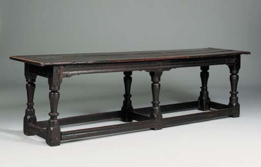 An oak six leg refectory table