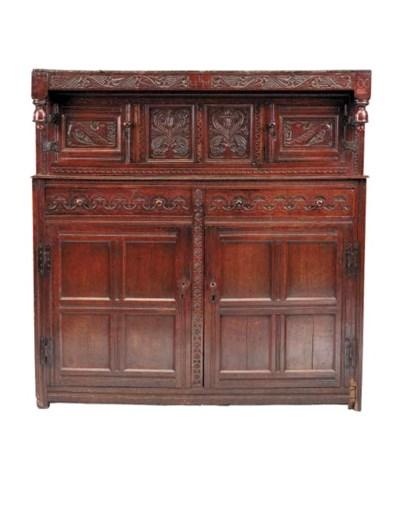 A large oak press cupboard, No