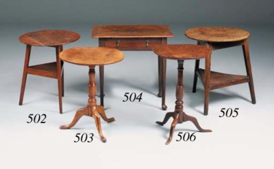 An ash and oak cricket table,