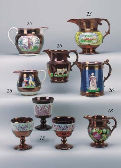 A pottery copper lustre jug