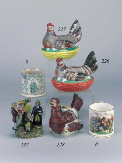 Two pottery hen tureens and co