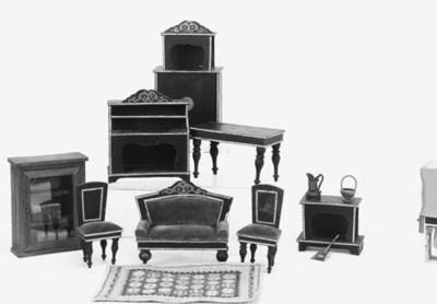 A set of ebonized dolls' house