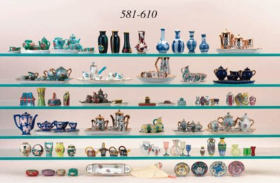 A collection of Limoges vases