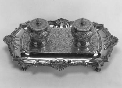 A Victorian silver-gilt inksta