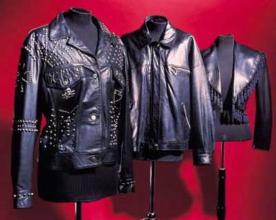 A leather biker jacket, encrus