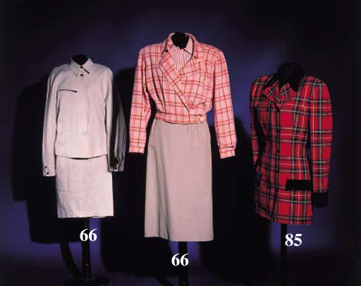 An ensemble, comprising beige skirt, striped silk blouse and chequed jacket, labelled GIORGIO ARMANI, size 40; a long skirt of tangerine suede, labelled GIANFRANCO FERRE, with an associated silk blouse, labelled ROMEO GIGLI, size 42 and chiffon scarf; and an ensemble of trousers, skirt and jacket in ivory linen, labelled CLAUDE MONTANA