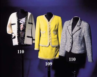 A suit of yellow bouclé wool,