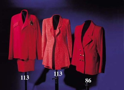 A jacket and sleeveless dress,