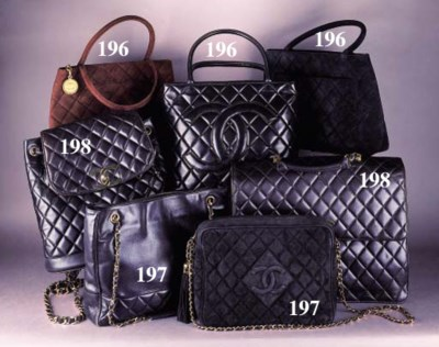 A large handbag in quilted bla