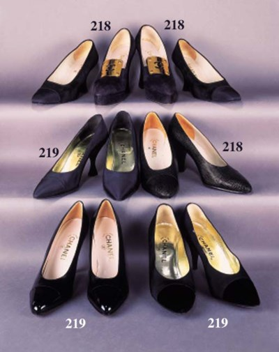 A pair of court shoes in black