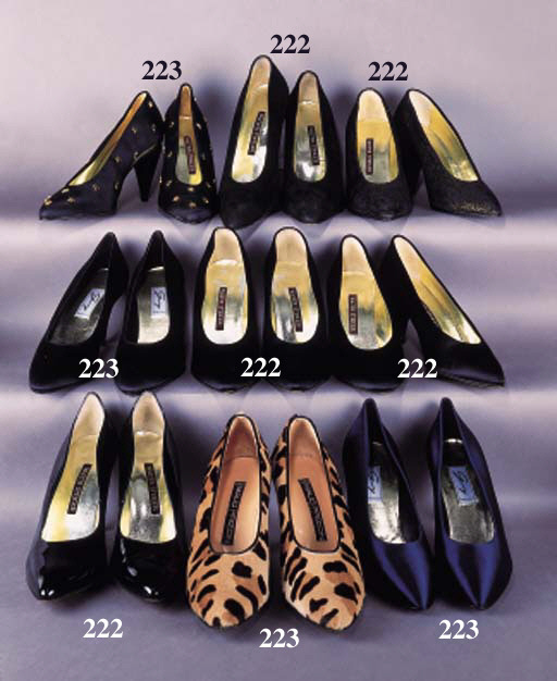 A pair of evening court shoes in black satin, with pointed toe, the inner sole labelled--GENNY--3 1/8in. (8cm.) covered stiletto heel; and another in navy blue satin, both unworn; and a pair of evening court shoes in black gros grain applied with small brass stars, a gold lacquered decorative detail to base of the shoe, the inner sole labelled WALTER STEIGER--3.5in. (9cm.) covered curved pyramid heel, unworn; and a pair of fancy court shoes in printed pony skin in beige and browns, the interior labelled MAUD FRIZON--3 3/8in. (8.5cm.) stacked curved stiletto heel