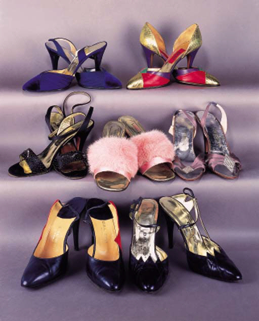 A collection of cocktail and evening sling backs and slippers including four pairs labelled DAL CO.,4in. (10cm.) covered stiletto heels,one pair unworn; and others labelled CHRISTIAN DIOR, VALENTINO NIGHT (unworn), CARRANO and GIANNI VERSACE