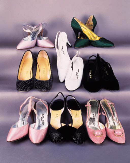 A pair of sling back shoes in lilac satin with pointed toe--the inner sole stamped DAL CO., 4in. (10cm.) covered stiletto heel, unworn; and seven further pairs of evening shoes and sling backs, all stamped DAL CO.