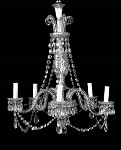 A moulded glass five light cha