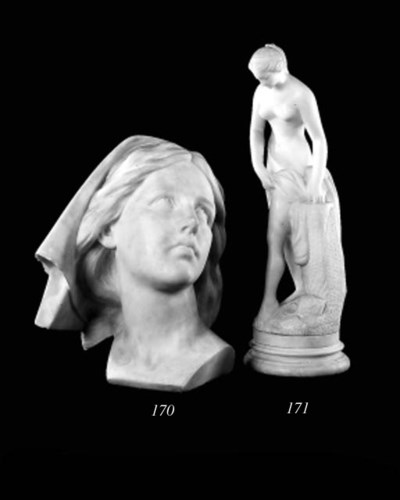 A French alabaster figure of V