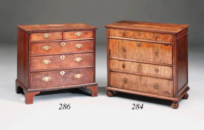 A walnut and burr-walnut chest
