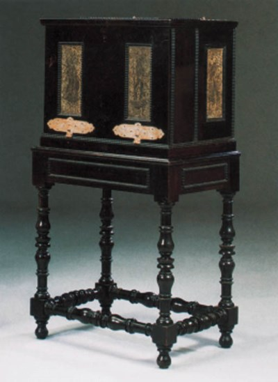 A German pewter-inlaid and ebo