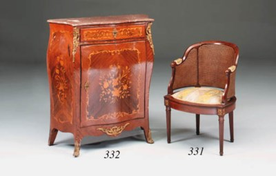 A French mahogany and caned be
