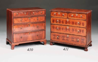 A walnut and marquetry chest,