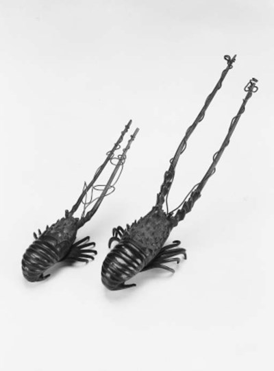 Two Japanese bronze models of