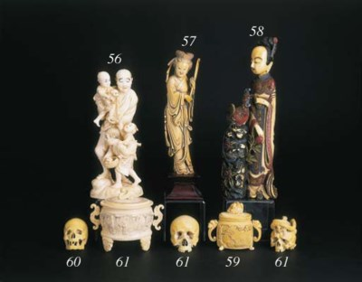 A Chinese painted ivory group