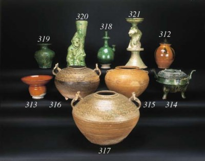 A Han green glazed pottery lam