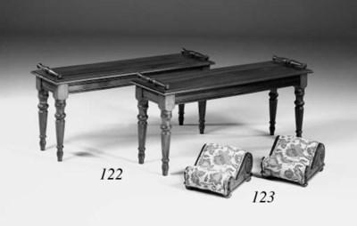 A pair of mahogany hall benche