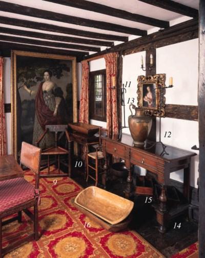 An oak folding side table, Eng