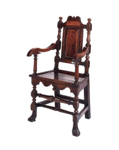 An oak open armchair, probably