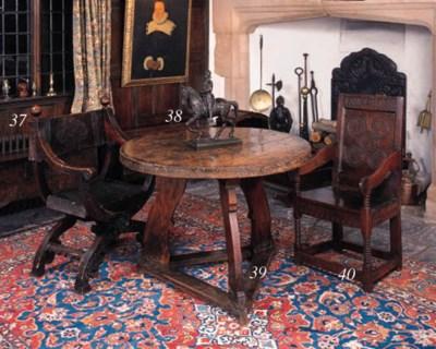 An oak circular table, North E