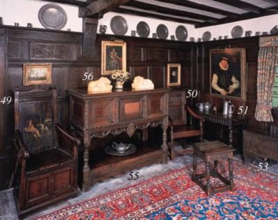 An oak cupboard, English, earl