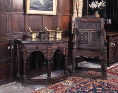 An oak armchair, English, late