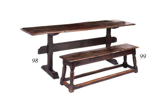 An oak long stool, English, ea